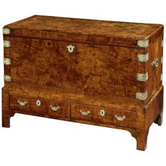 George I Figured Walnut Coffer on Stand