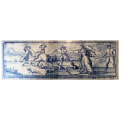 18th Century Portuguese Hunting Scene Panel in Blue and White Glazed Ceramic