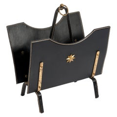 Stitched Leather Magazine Rack by Jacques Adnet