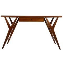 Mahogany Console Table with Glass Top, circa 1950