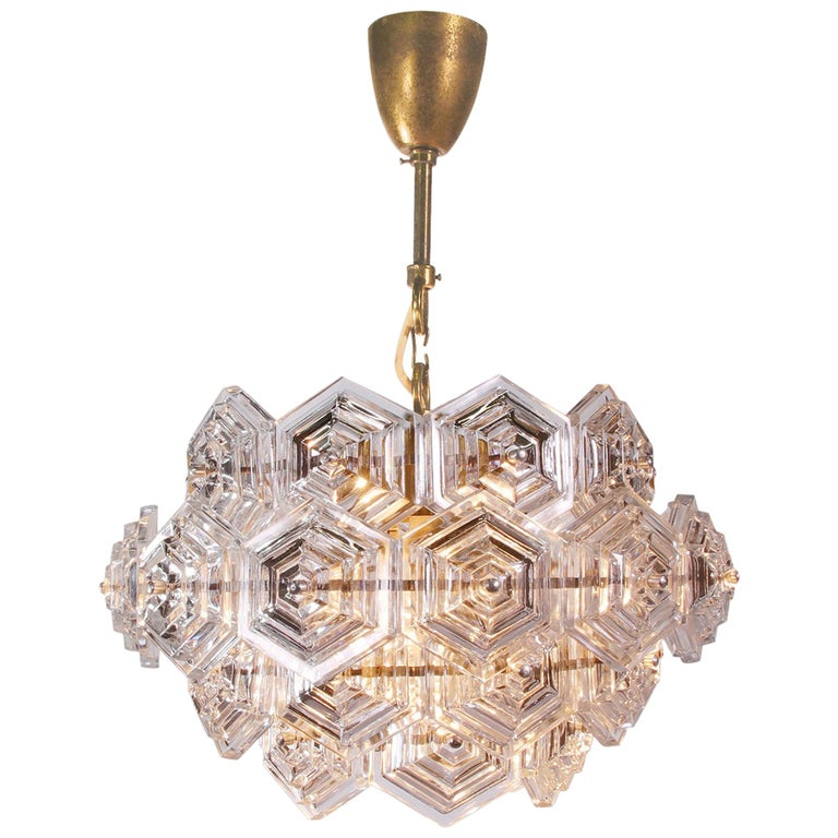 Midcentury Dandelion Sputnik Glass Prisms Chandelier VEB, Germany, 1960s For Sale