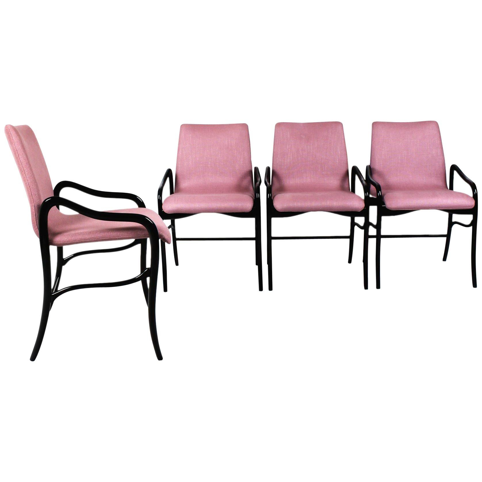1960s Set of Four Armchairs by Enrico Ciuti, Rounded Beech, Pink Linen, Italy