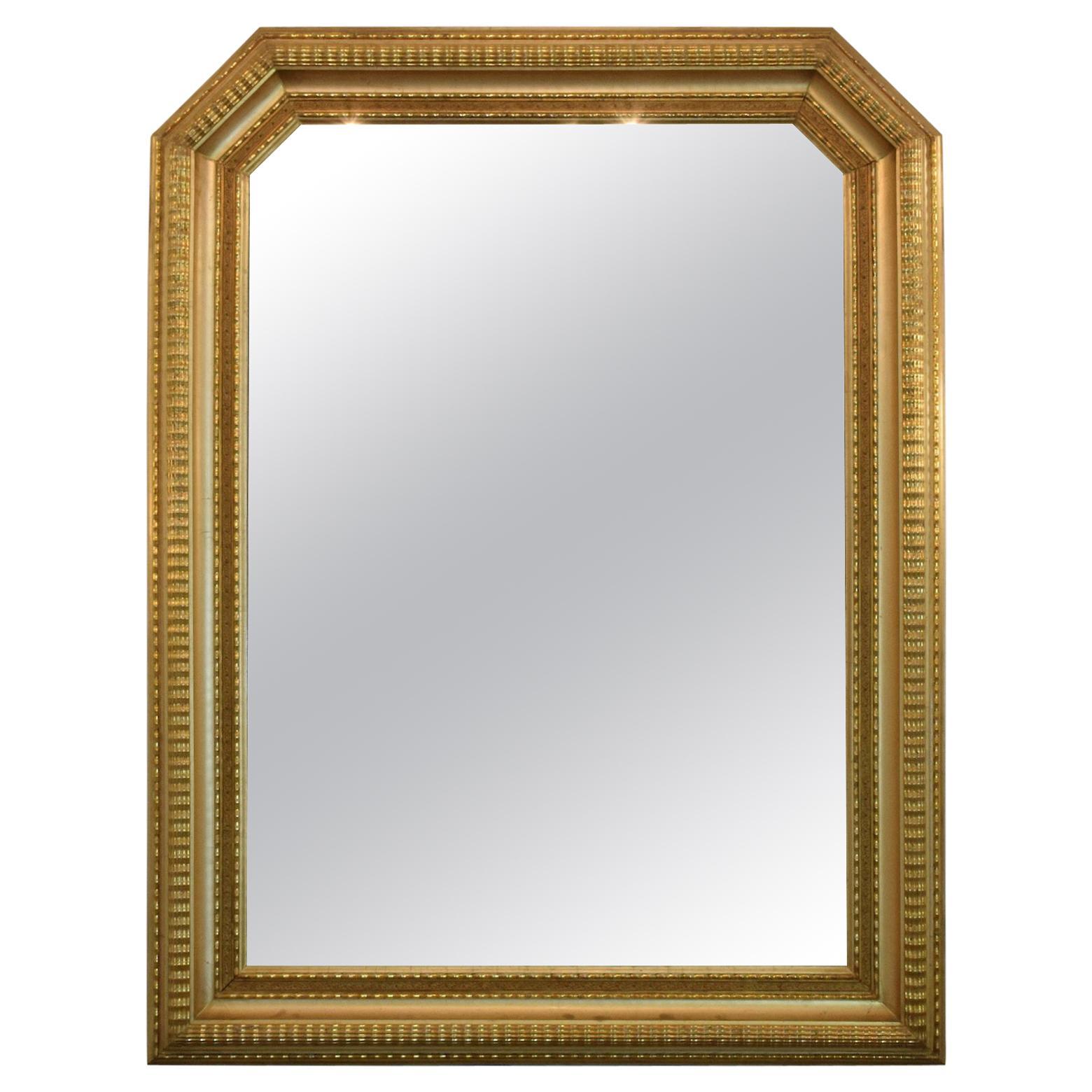 20th Century Italian Octagonal Giltwood Mirror, 1940s