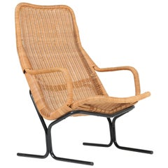 Mid-Century Modern Wicker 514 Lounge Chair by Dirk van Sliedrecht for Rohé, 1961