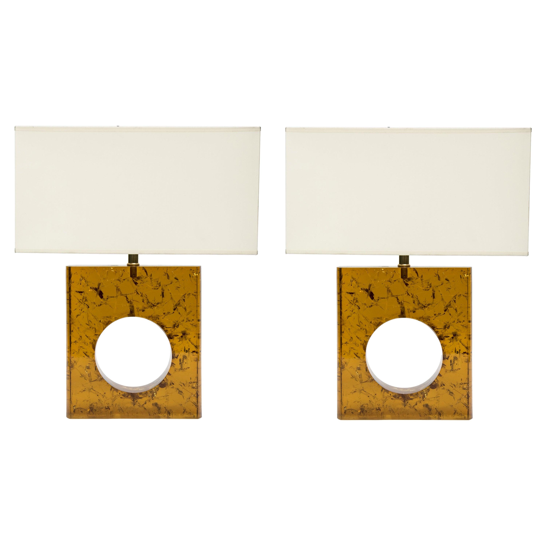 Pair of Orange Fractal Resin Square Table Lamps