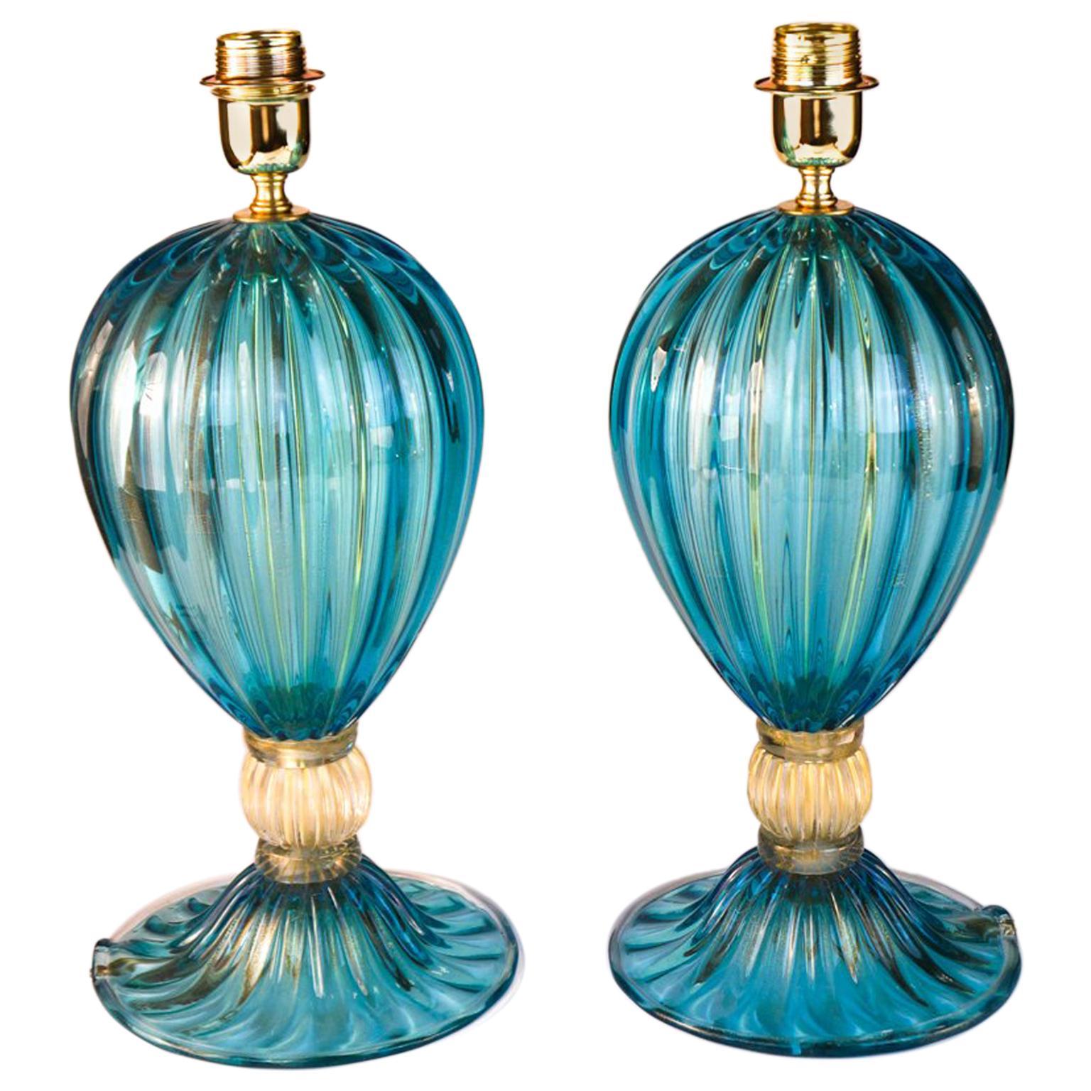 Alberto Donà Pair of Aquamarine Italian Murano Glass Table Lamps Veronese, 1980s