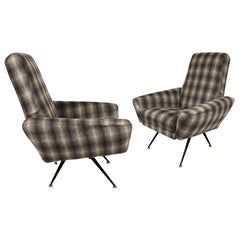 1950s Pair of Armchairs, Metal, Detachable, Camel Hair Style Wool, Italy