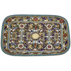 Antique Russian Silver Gilt and Polychrome Cloisonné Enamel Tray, circa 1890