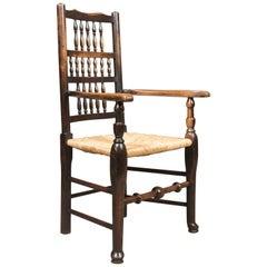 Antique Elbow Chair, Victorian Lancashire Spindle Back Dining, circa 1870