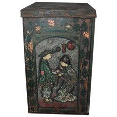 Large Tea Box, from the 1930s, Asian Tea Tin