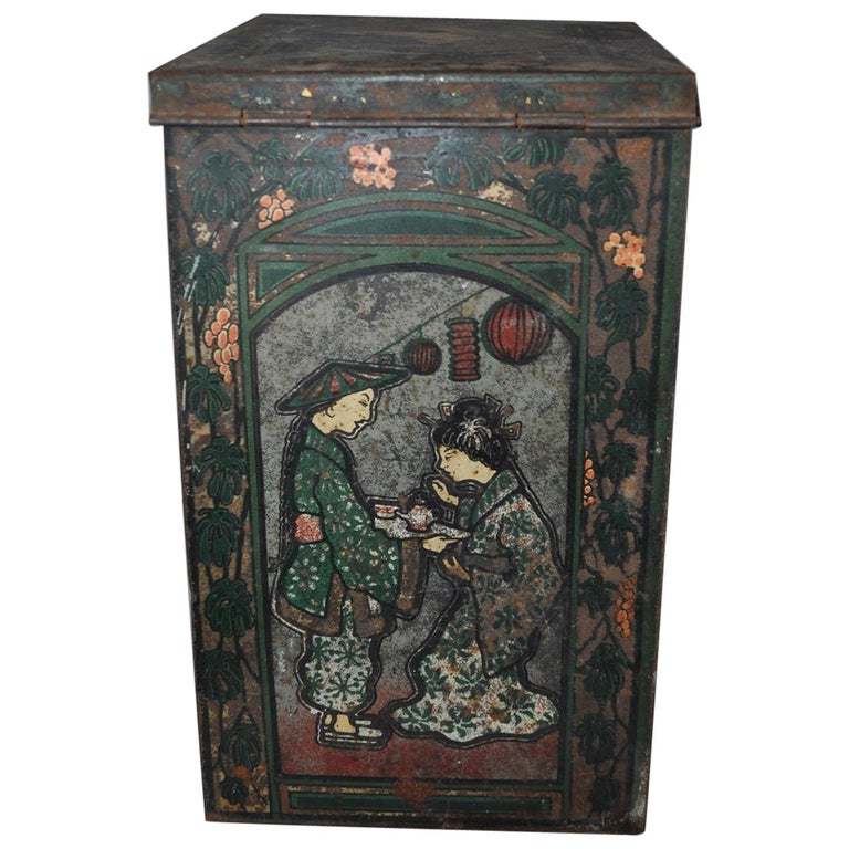 Large Tea Box, from the 1930s, Asian Tea Tin For Sale