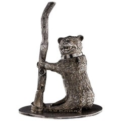 Antique 19th Century Rare Victorian Solid Silver Novelty Bear Inkwell, Sheffield