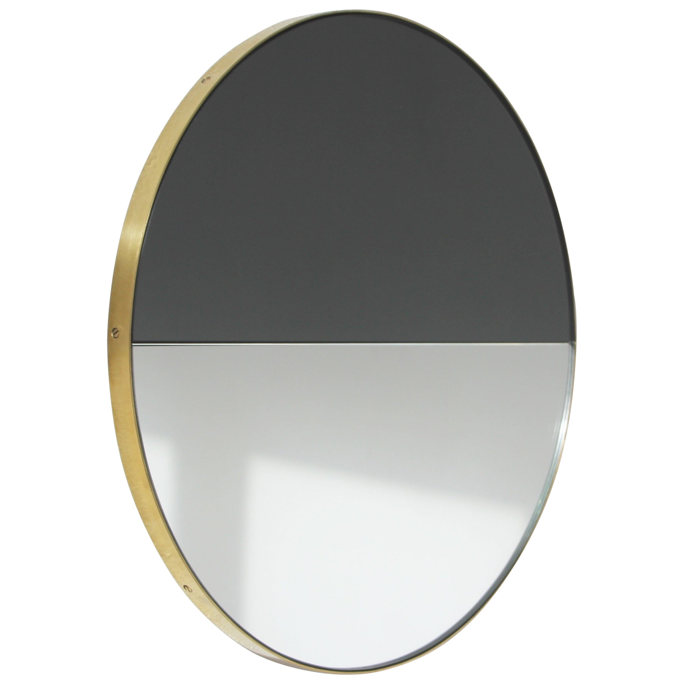 Orbis Dualis™ Mixed Tint Decorative Round Mirror with Brass Frame - Regular
