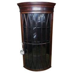 Edwardian Mahogany Inlaid Bow Hanging Corner Cupboard