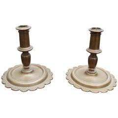 17th Century Pair of Spanish Brass Candleholders