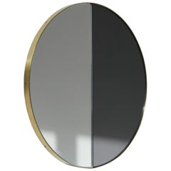 Modernist Tinted Dualis Orbis™ Round Mirror with Brass Frame, Medium, Custom