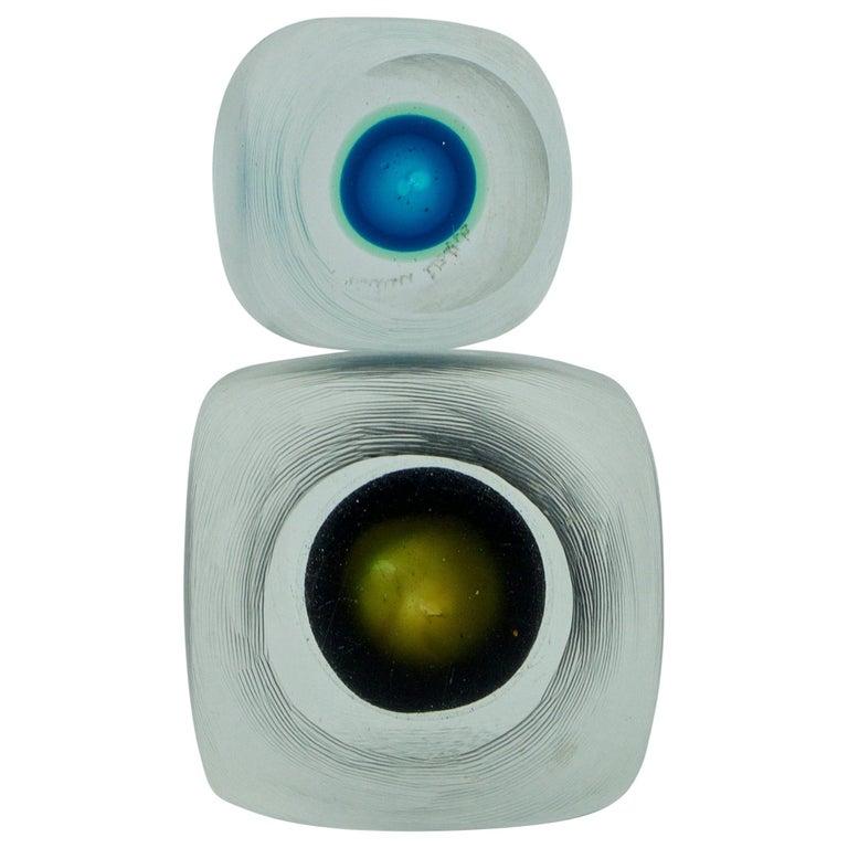 Midcentury Caliari Venini Inciso Art Glass Cube Eyeball Sculpture Paperweights For Sale