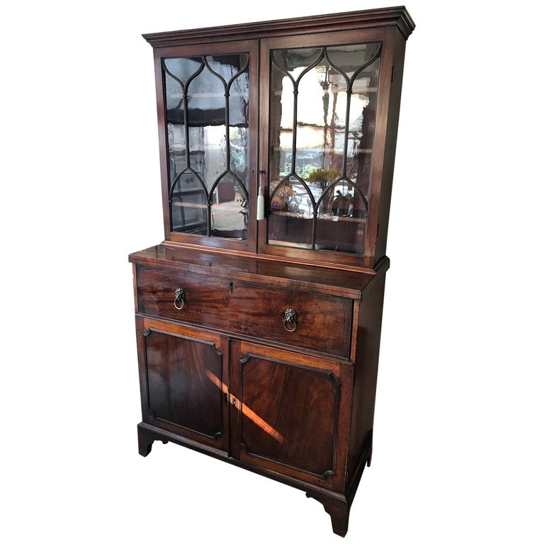 18th Century Georgian Mahogany Secrétaire Bookcase and Cupboard For Sale