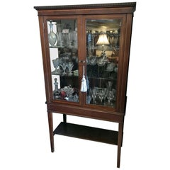 19th Century Mahogany Inlaid Victorian Display Cabinet