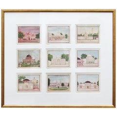 1950s Framed Collage Painting Composed of 9 Small Hand Drawn Indian Palaces