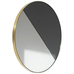 Orbis Dualis™ Mixed Tint Contemporary Round Mirror with Brass Frame - Oversized
