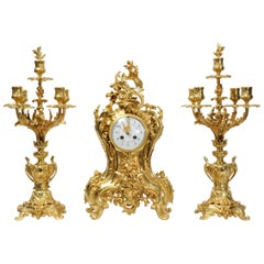 Japy Freres Large Antique French Rococo Gilt Bronze Clock Set