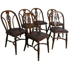 Set of 6 Arts & Crafts Gothic Heraldic Lion Back Windsor Chairs