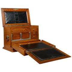 Antique Campaign Writing Box, English, Victorian, Oak, Stationery, 1887