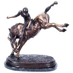 Stunning Bronze Polo Player Bucking a Horse Sculpture
