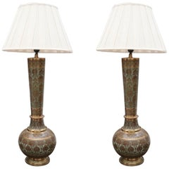 1930s Pair of Turkish Brass Enameled Flower Decorated Table Lamps