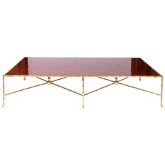 Large Coffee Table in Gilt Bronze and Red Lacquer, Contemporary Work