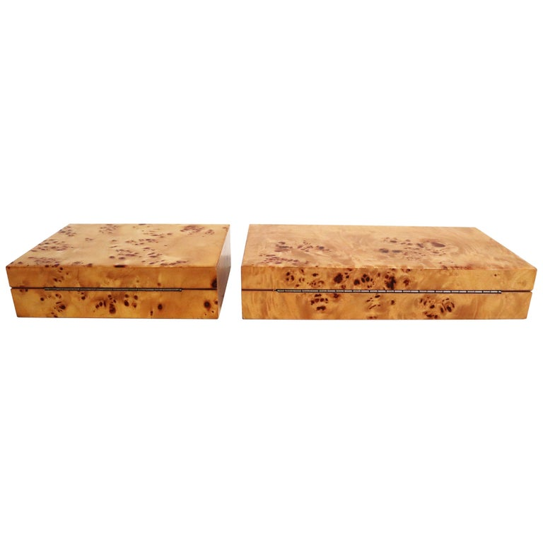 Tommaso Barbi Vintage Burl Wood Decorative Boxes, Italy 1970s, Set of Two For Sale