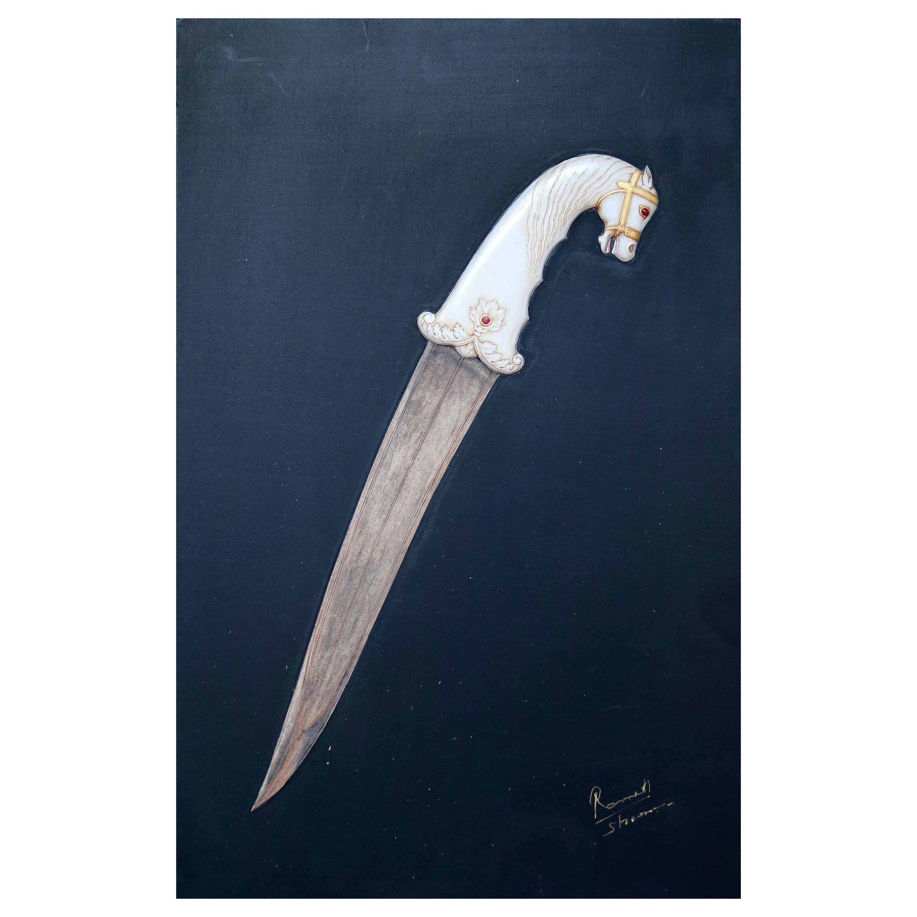 1985 Indian Artist Hyperrealist Relief Painting of a Dagger Using Gold Gilding