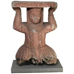 Large Antique Hand Carved Wood Sculpture