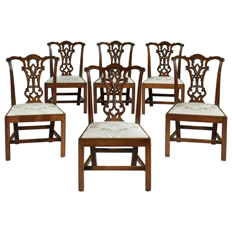 Set of Six 18th Century Chippendale Period George III Mahogany Chairs For Sale