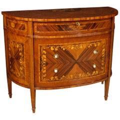 20th Century Inlaid Wood Italian Demilune Dresser, 1970