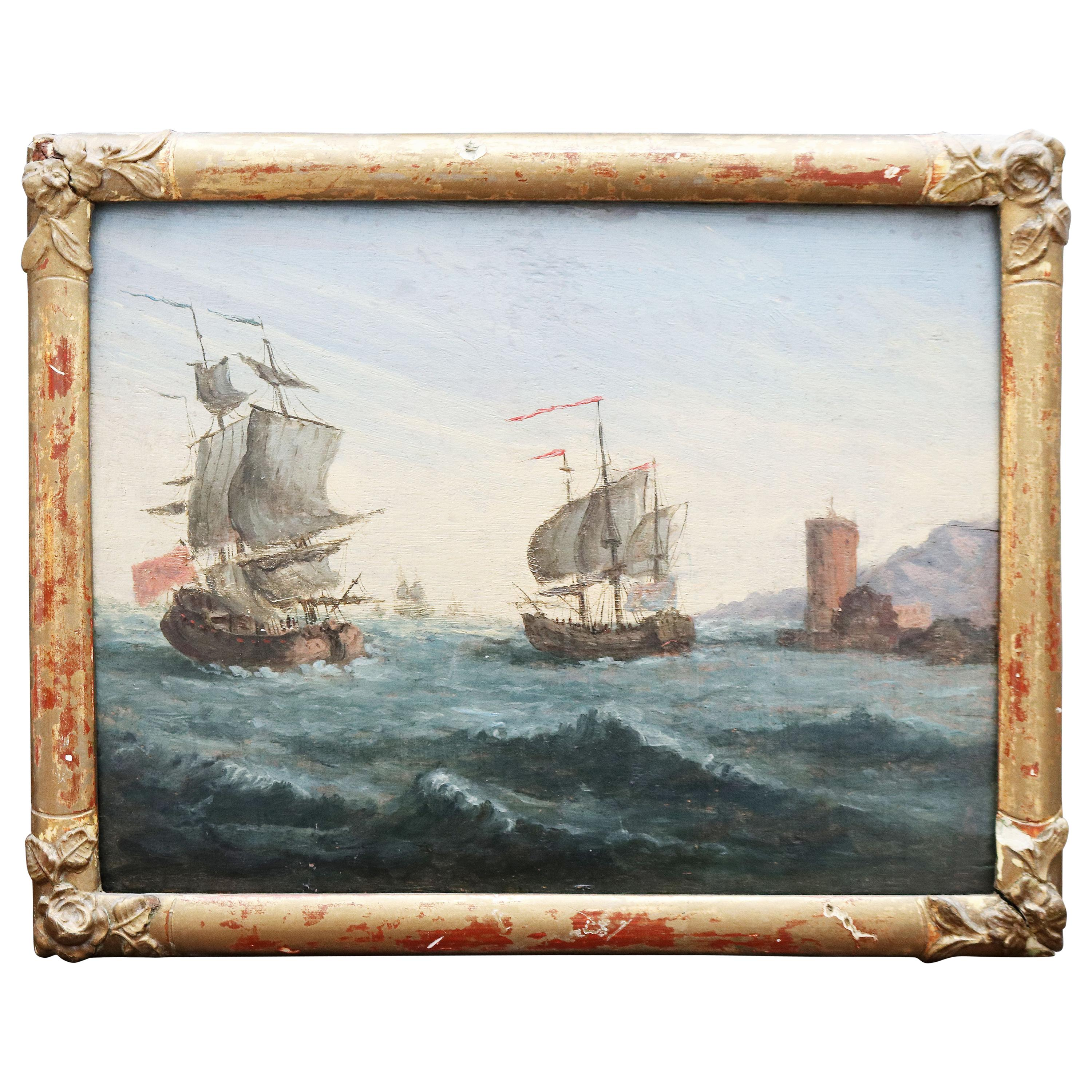 19th Century French Marine Signed Oil on Wood Painting with Two Galleons