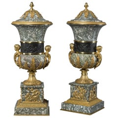 Pair of Verde Chassagne Marble Vases and Covers, circa 1890