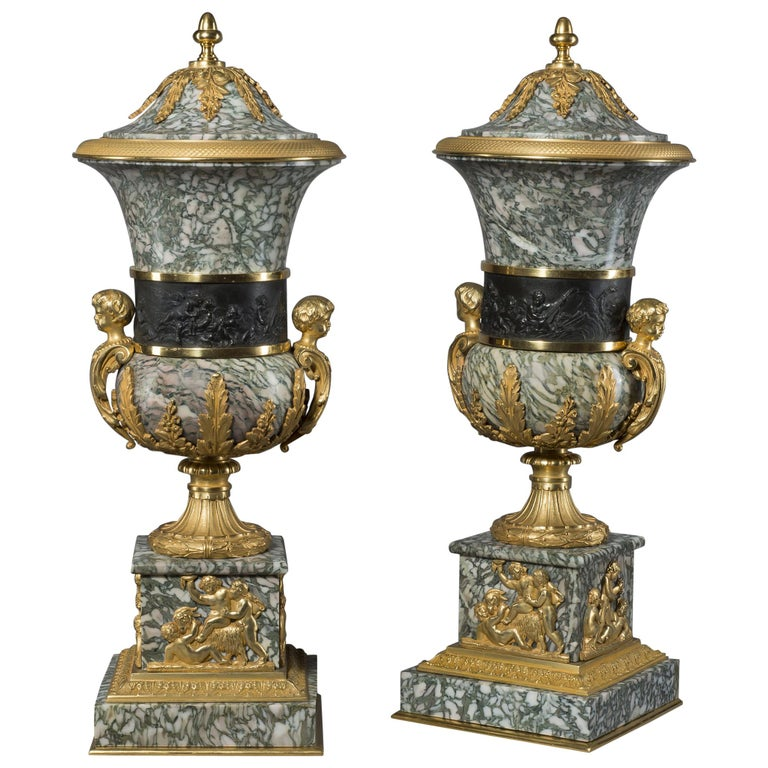 Pair of Verde Chassagne Marble Vases and Covers, circa 1890 For Sale