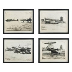 Set of Four Charcoal Drawings Building of the Newly Build Airport Vienna, 1959