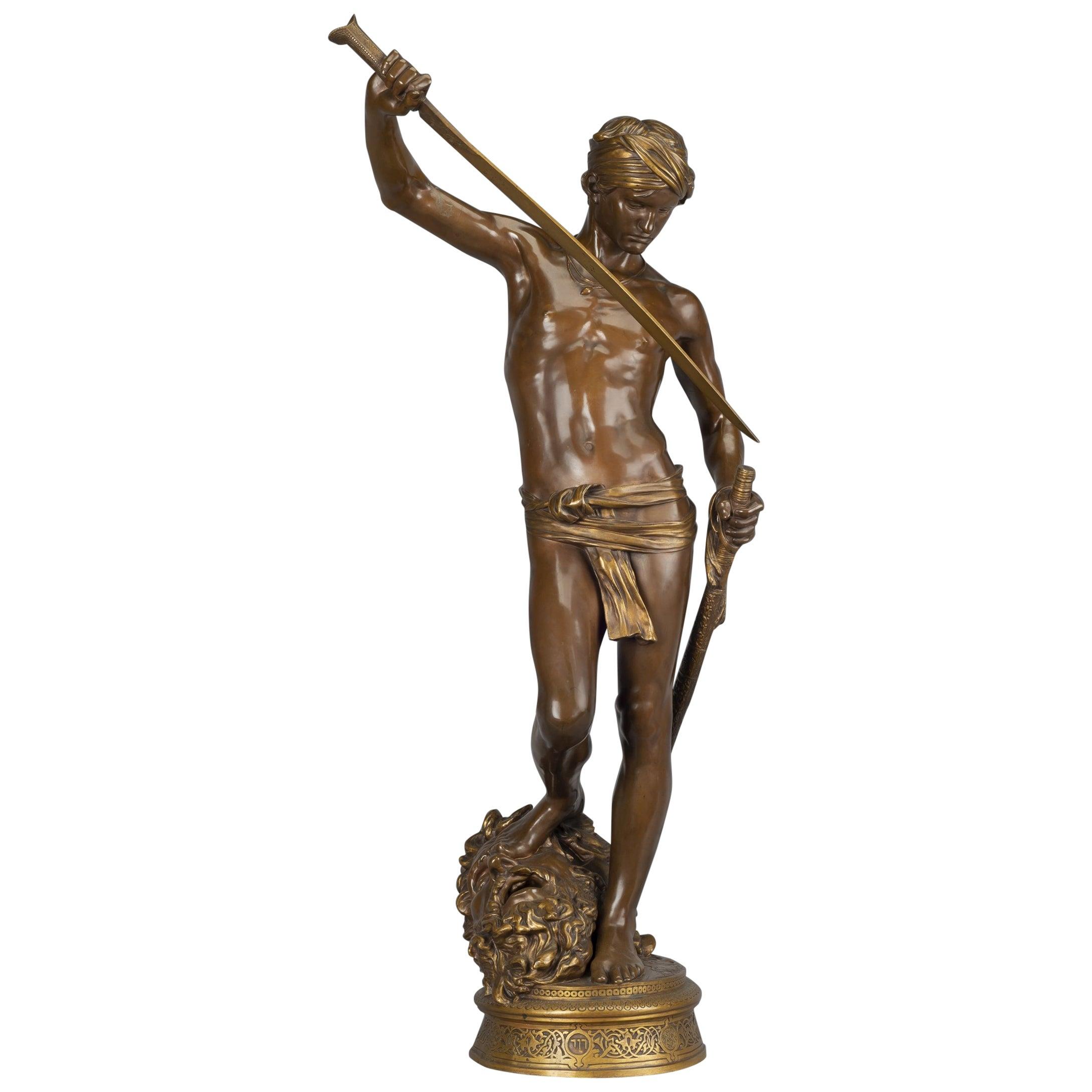 'David Vainqueur de Goliath' a Bronze Figure by Antonin Mercié, circa 1880