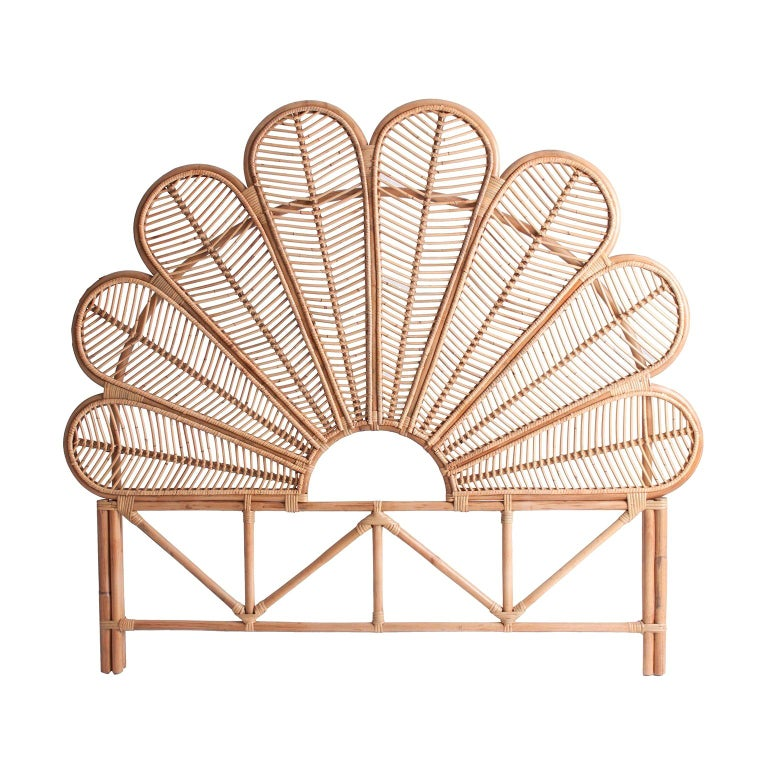 Rattan and Wicker Queen Size Headboard For Sale