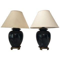 Vintage Pair of Ceramic Cobalt Blue Glazed Table Lamps