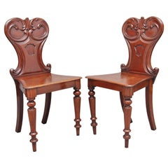Pair of 19th Century Mahogany Hall Chairs
