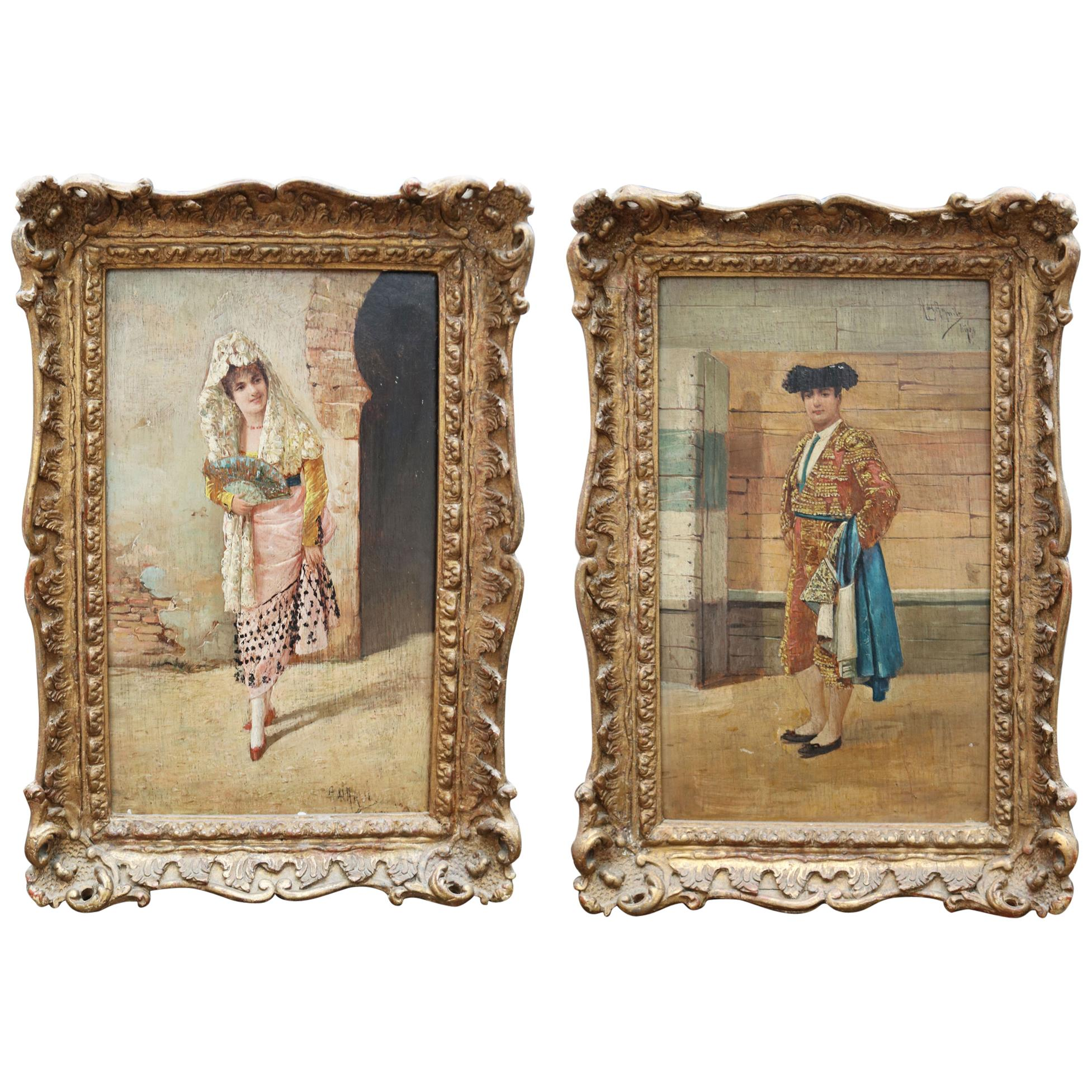 19th Century Spanish Andalusian Pair of Paintings by A. del Aguila