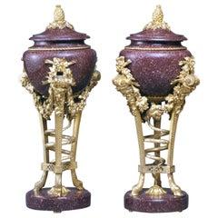 Pair of Louis XVI Style Gilt-Bronze Mounted Porphyry Urns, circa 1870