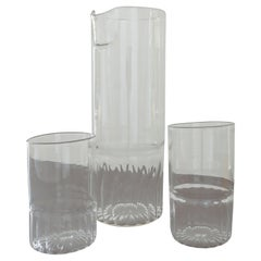 Two Hand Blown Glass Tumblers with Matching Carafe, Designed by Max Frommeld