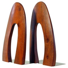 Midcentury Scandinavian Modern Teak and Brass Bookends, 1960s