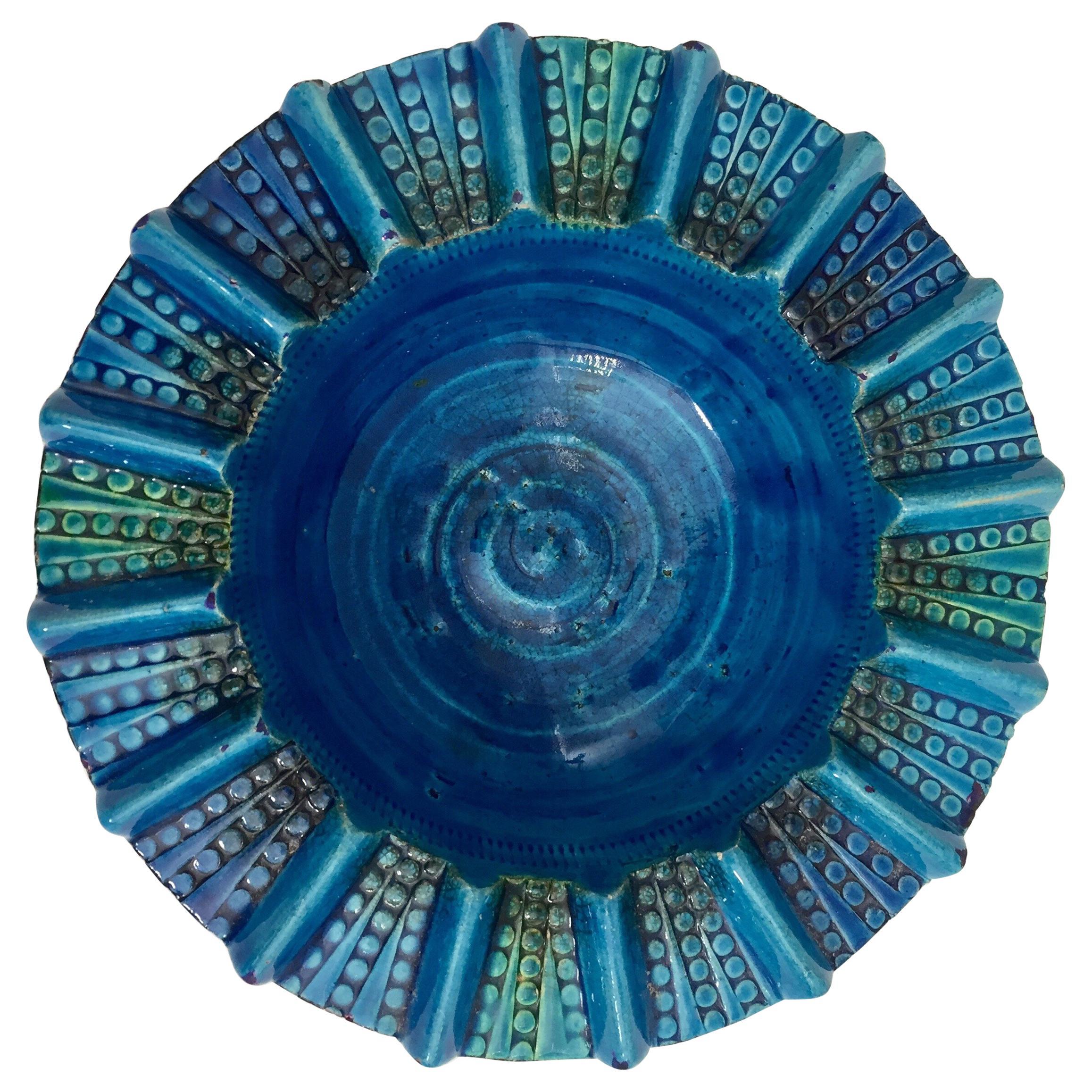Aldo Londi Blue Ceramic Ashtray Handcrafted in Italy