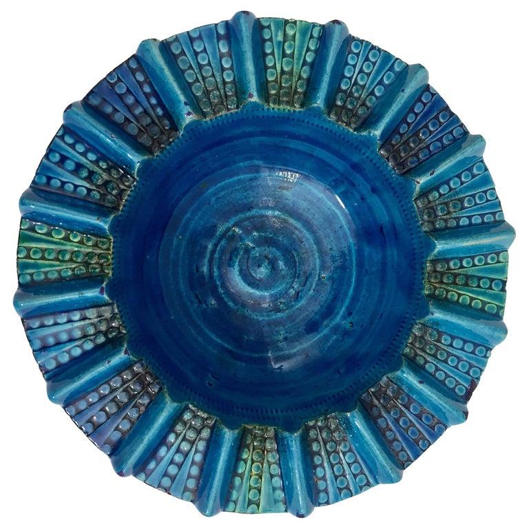 Aldo Londi Blue Ceramic Ashtray Handcrafted in Italy For Sale